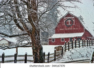 Old red barn in a snow storm in the country.