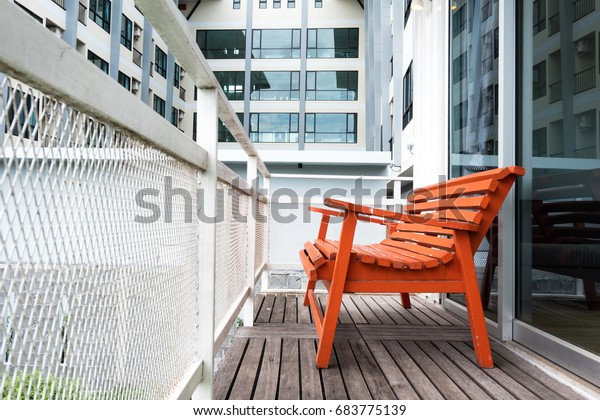 Amazing Old Red Bench Balcony Behind Bedroom Stock Photo Edit Now Camellatalisay Diy Chair Ideas Camellatalisaycom