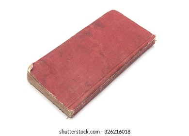 Old red book isolated on white