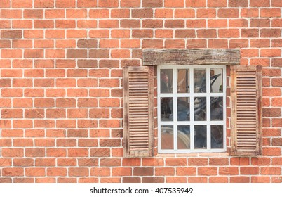 old red brick block wall and window