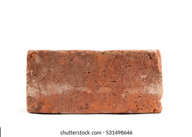 Old red brick isolated on white background. Object isolated