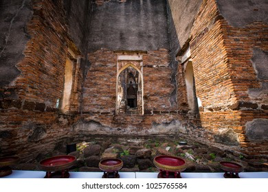 Old Red Brick at Narai Palace Lopburi Provice Thailand.King Narai statue is in the Phra Narai Rachanivet palace.This is an acient palace being built in Ayutthaya period with a remarkable architectural