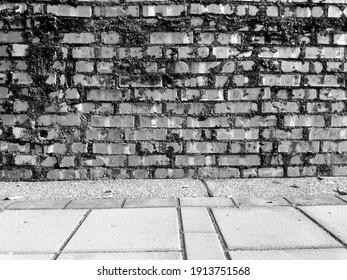 Old red brick wall. Background texture (black and white photo)