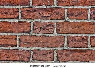 old red brick wall close up