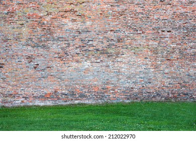 Old red brick wall with grass.