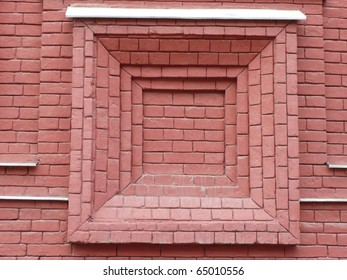 old red brick wall with window shape
