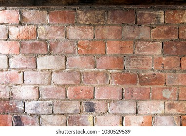 old red brickwork wall with cement for background