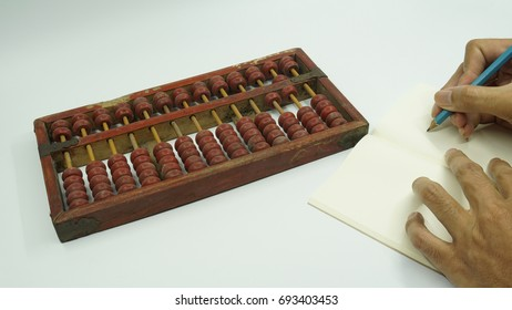 Old red Chinese abacus on bright background.