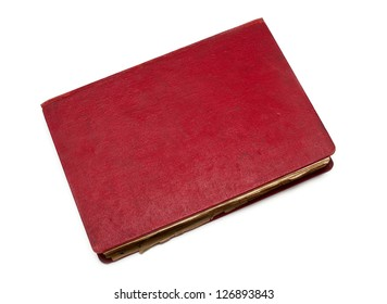 old red closed book isolated on white background