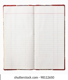 Old red cover notebook on white background