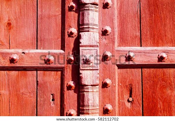 Old red door. Taj Mahal territory. Pattern, background.