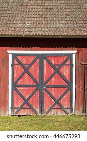 Old red doors on a barn