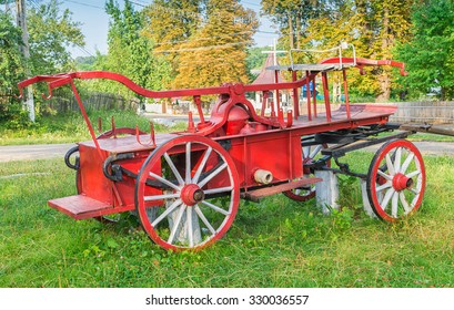 Old red fire cart