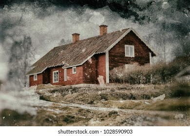 Old red house on the hill