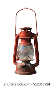 Old red  lantern over white