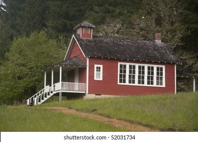 Old red one-room school house in the Willamette Valley of Oregon
