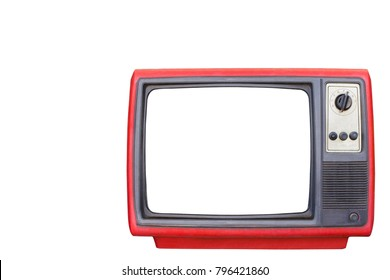 Old red or Retro style television from 1950, 1960 and 1970s. blank space white screen  isolated white background