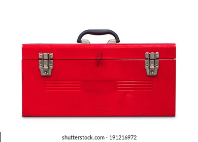 Old red steel toolbox, isolated on white background with clipping path