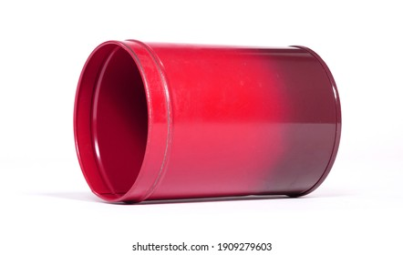 Old red tin can, isolated on white background
