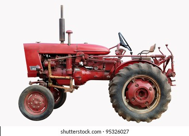 old red tractor isolated on white