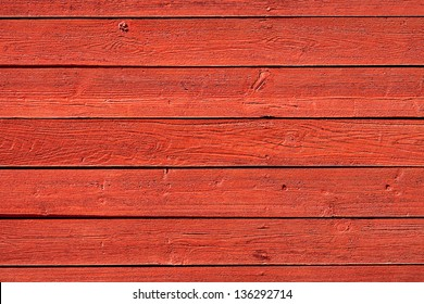 Old, red vintage horizontal wood panels from barn used as background