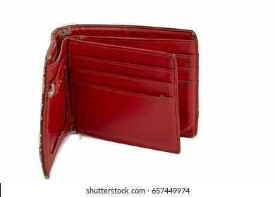 old red wallet isolated on white background