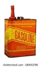 An old red and yellow gas can with grungy rusting scratches all over the surface.