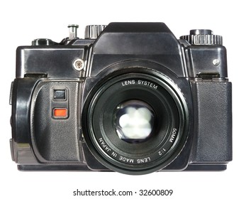 old reflex film camera isolated