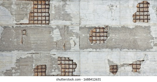 Old reinforced concrete structure with damaged and rusty metallic reinforcement. - Shutterstock ID 1688412631