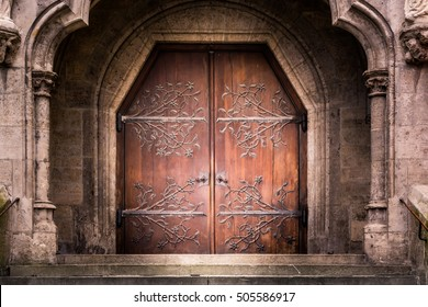 Old Reinforced Medieval Middle Ages Entrance Wooden Iron Doors Stone Castle Church Cathedral Staircase Dramatic Shadow & Castle Door Images Stock Photos u0026 Vectors | Shutterstock