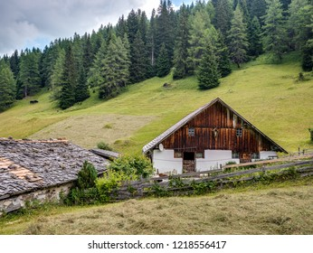 Old remote farm building during season of hay harvest on alpine mountain pastures near Obernberg am Brenner, Tyrol, Austria