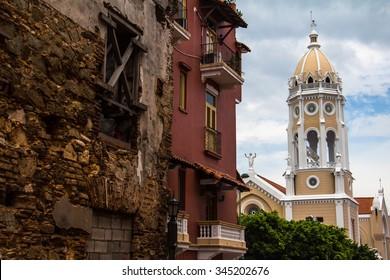Old renovated buildings in Casco Viejo, Panama City