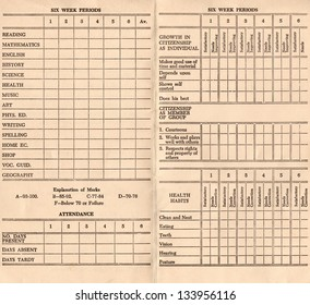 Old report card from 1958. This is a high resolution scan. Reading Writing and Arithmetic sections.