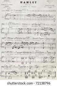 Old reproduction of Hamlet score. Heugel ed. for Academie Imperiale de Musique, published on L'Illustration, Journal Universel, Paris, 1868