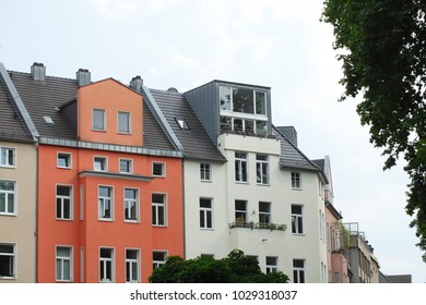 Old residential Buildings house facades