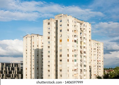 Old residential buildings on cloudy blue sky in Novi Sad in Serbia.