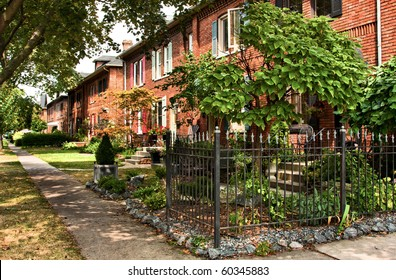 Old residential row houses in Walkerville, Ontario, originally built for the Hiram Walker's employees.