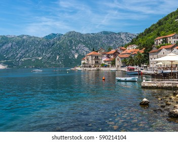 The old a resort town of Perast on the shore of the Bay of Kotor (Boka Kotorska). Montenegro.