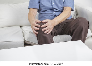 Old retired gentleman with chronic knee problems and pain