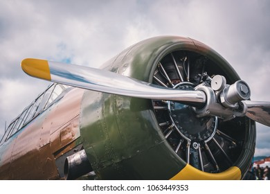 Old retro Airplane engine and propeller