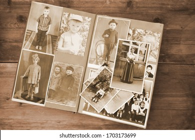 old retro album with vintage monochrome photographs in sepia color, the concept of genealogy, the memory of ancestors, family ties, childhood memories