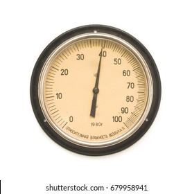 """Old retro barometer isolated on white.  """"Relative air humidity"""" - translation of Russian text below. Soviet Union Barometer."""