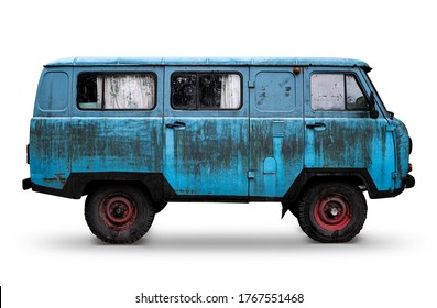 Old Retro Blue Dirty Van with Red Wheels Isolated on White. Rusty Rough Metal Surface Texture. Vintage Antique Soviet Russian Car Bus. Side View. - Shutterstock ID 1767551468