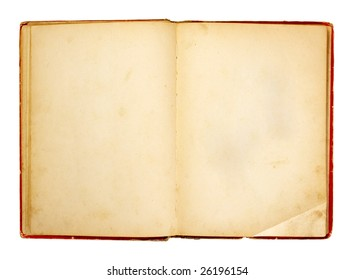 old retro book on white background with clipping path