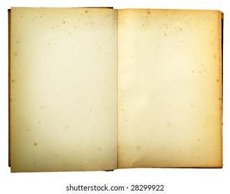 old retro book reversed on white background with clipping path