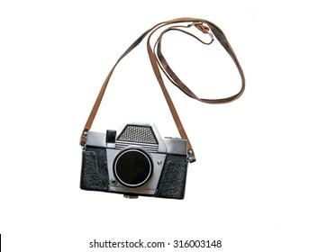 Old retro camera isolated on white background