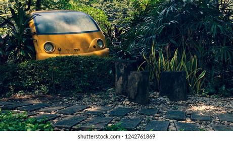 old retro car in thailand garden (cross process)