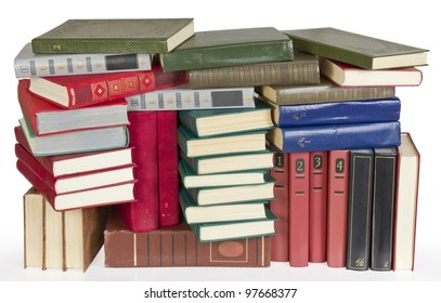Old retro color covers books  heap on white background image. Contains patch