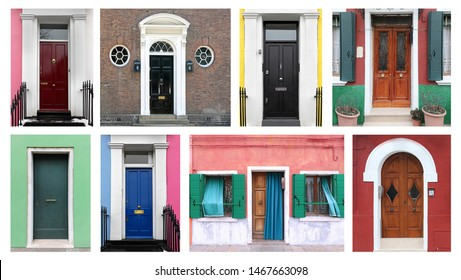 Old retro colorful residential houses closed front entrance doors