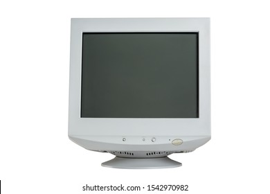 Old retro CRT monitor display isolated on white background.